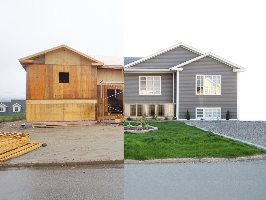 Before and After House Siding Image - EcoShield Exteriors